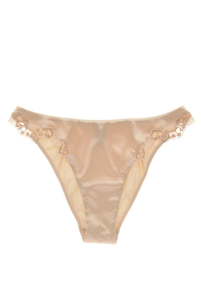 COTTON CLUB IVORY Silk Floral Briefs