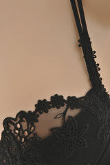 COTTON CLUB LACE Black Balconette Bra