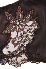 COTTON CLUB NOTORIOUS Brown Silk Floral Thong