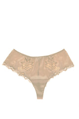 COTTON CLUB NOTORIOUS Ivory Silk Floral Thong