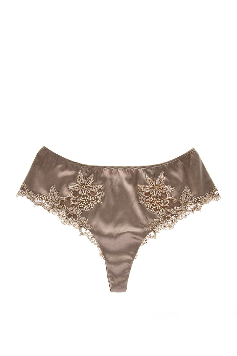 COTTON CLUB NOTORIOUS Taupe Silk Floral Thong