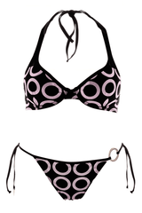 COTTON CLUB PINK RINGS Black Halter Bikini
