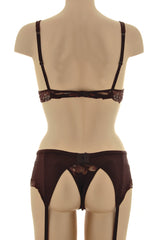 COTTON CLUB ROMANTIC Brown Lace Garter Belt
