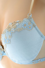 COTTON CLUB VETA Sky Blue Floral Bra