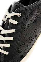 CRAVO & CANELA CINNA Black Cut-Out Leather Sneakers