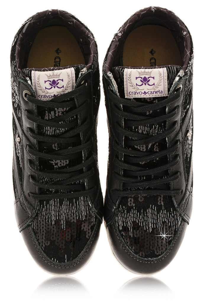 CRAVO & CANELA STARLA Black Sequin Sneakers