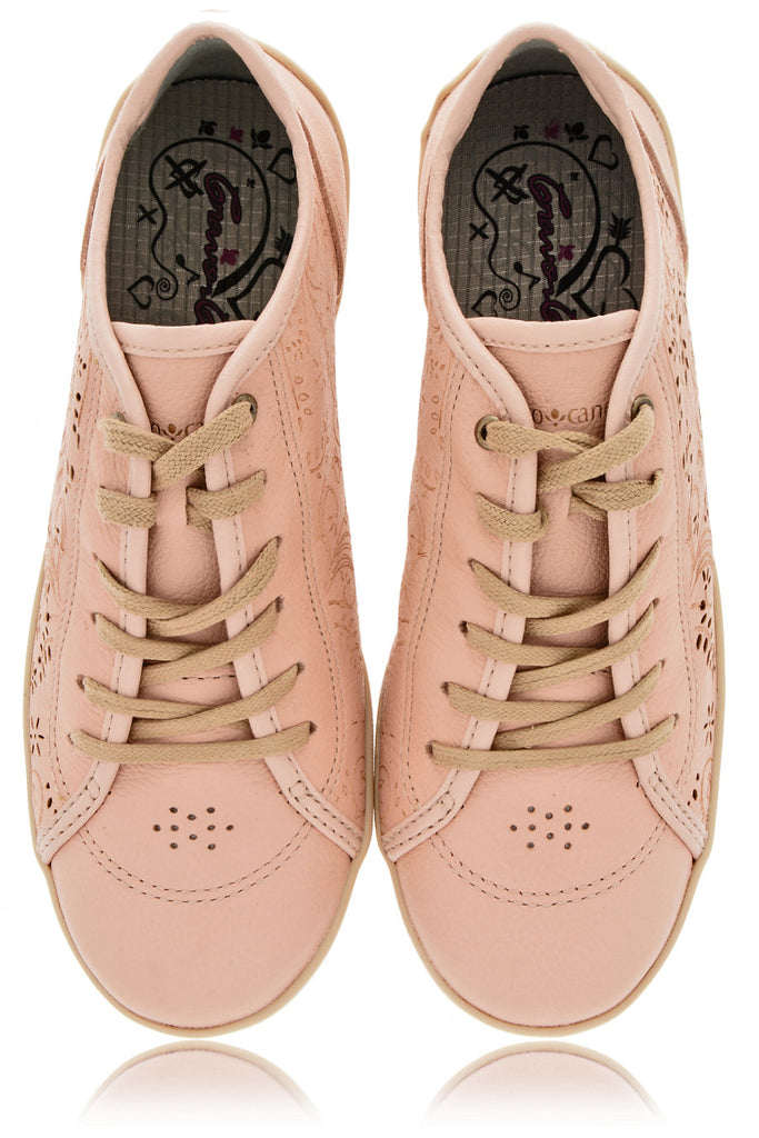 CRAVO & CANELA CINNA Creamy Rose Cut-Out Leather Sneakers