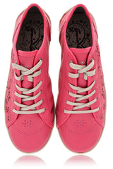CRAVO & CANELA CINNA Fuchsia Cut-Out Leather Sneakers