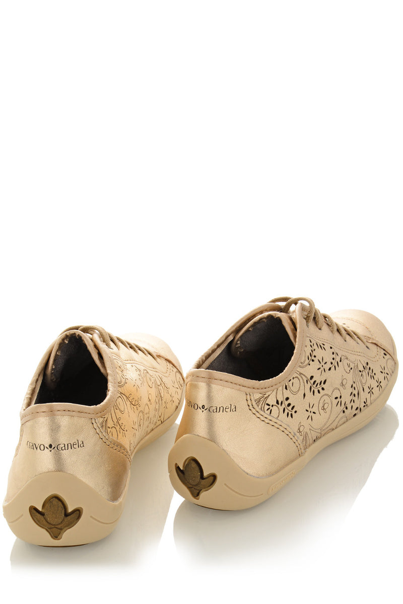 CRAVO & CANELA CINNA Gold Cut-Out Leather Sneakers