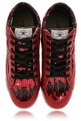 CRAVO & CANELA STARLA Bordeaux Sequin Sneakers