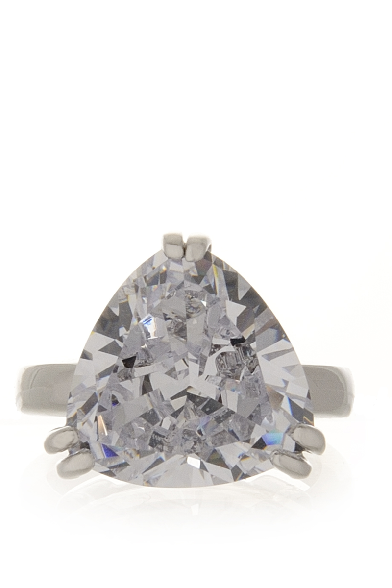 KENNETH JAY LANE DIANE Silver Zircon Cocktail Ring