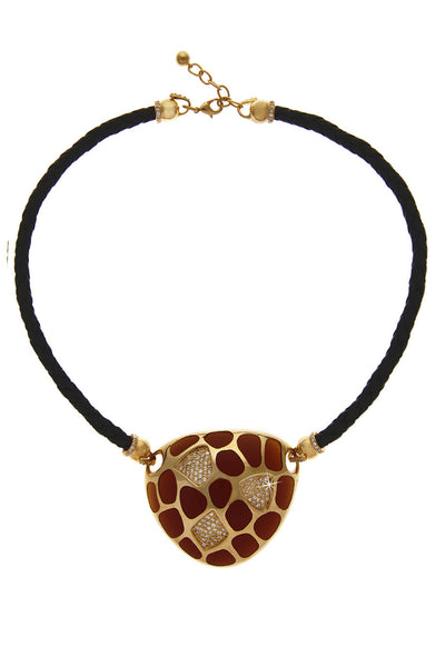 KENNETH JAY LANE TIGER Tortoise Gold Pendant
