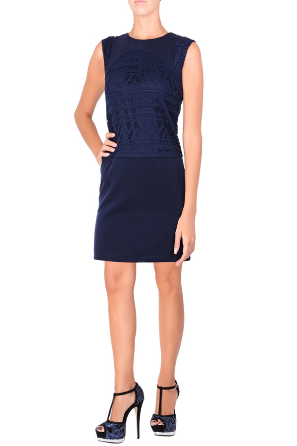 C BLOCK FELICIA Blue Cut Out Knee Length Dress