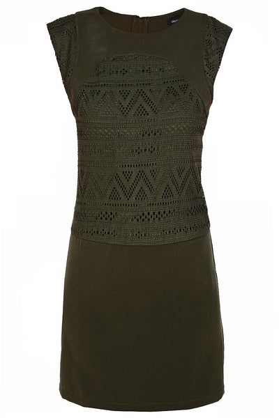 FELICIA Khaki Cut Out Knee Length Dress