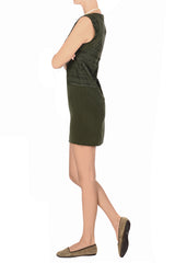 C BLOCK FELICIA Khaki Cut Out Knee Length Dress