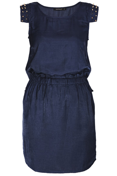 C BLOCK SURI Dark Blue Studded Knee Length Dress
