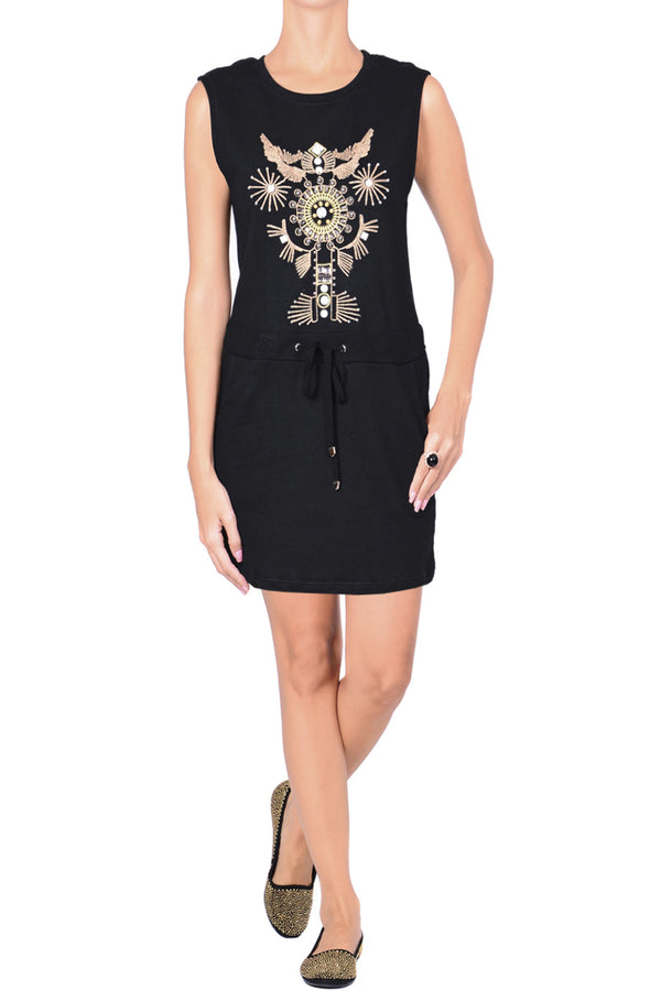 C BLOCK VANITY Black Embellished Cotton Dress