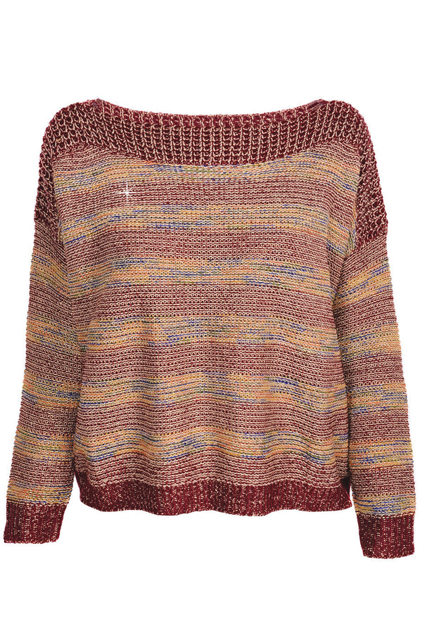 C BLOCK FANTASY Red Tweed Effect Sweater