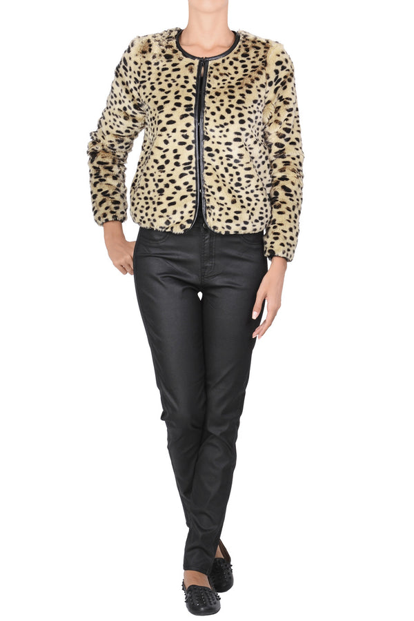 C BLOCK JALIA Leopard Fur Jacket