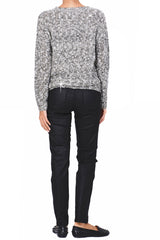 C BLOCK NAOMI Black White Tweed Effect Sweater