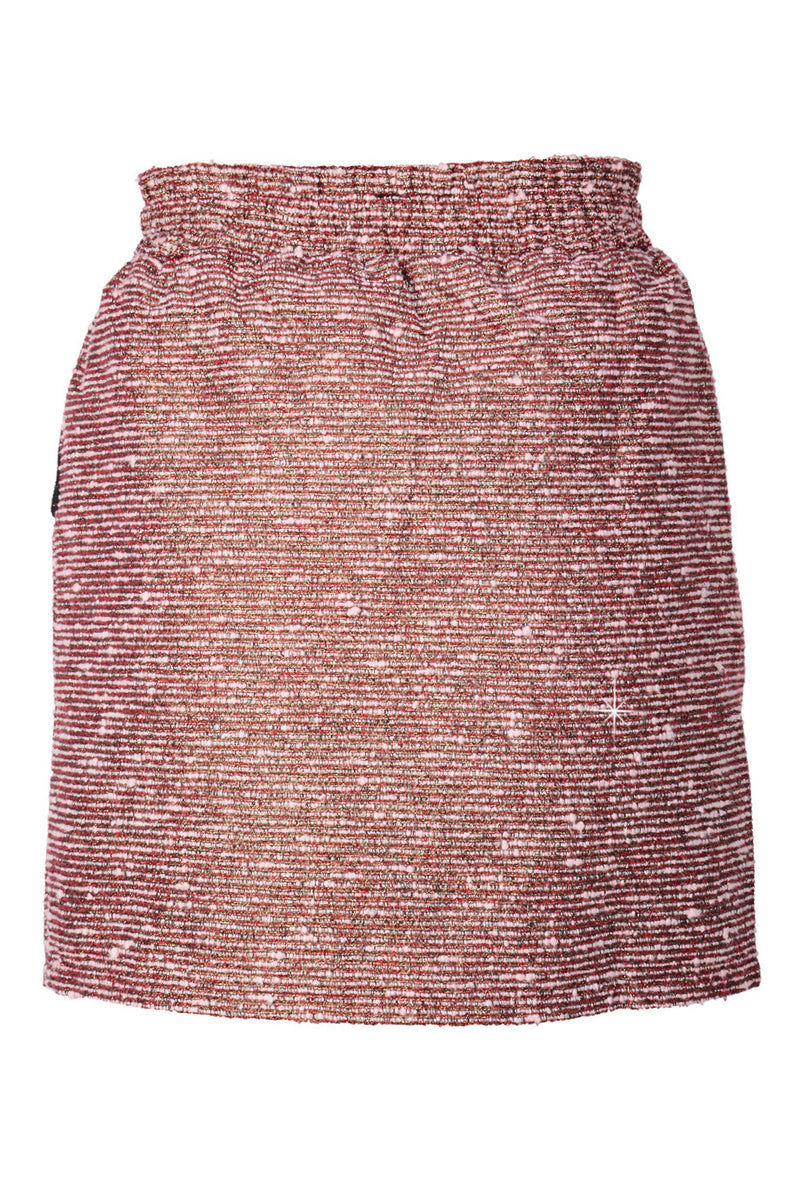 C BLOCK PEPLUM Pink Tweed-Effect Skirt