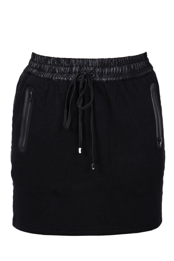C BLOCK PIA Black Elastic Drawstring Skirt