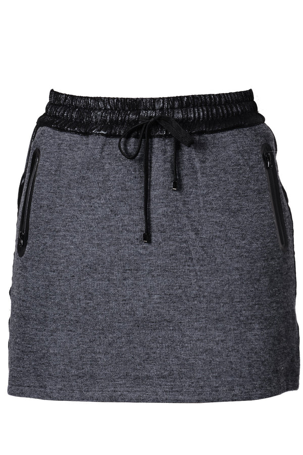 C BLOCK PIA Grey Elastic Drawstring Skirt
