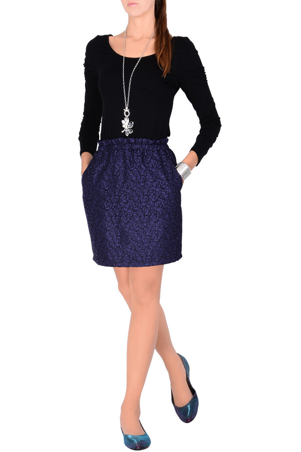 C BLOCK ROSALINE Black Purple Brocade Skirt