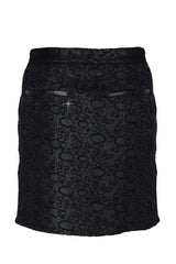 C BLOCK RURI Black Metallic Brocade Skirt