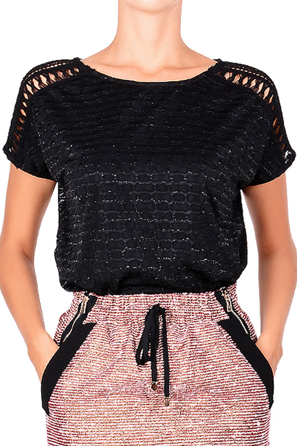 C BLOCK STEFANIA Black Lace Top