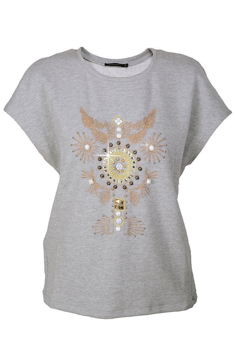 C BLOCK VANITY Grey Embellished Blouse