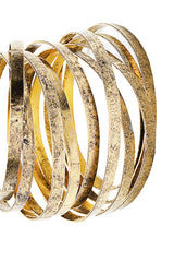 BY THE STONES WIRE Gold Wide Bangle
