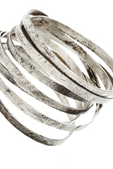 BY THE STONES WIRE Silver Wide Bangle
