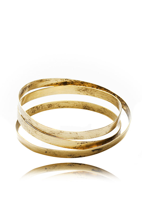 BY THE STONES WIRE Gold Wide Bangle PRET-A-BEAUTE.COM