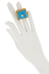 ISHARYA DAISY Filigree Light Blue Ring