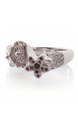 Christian Dior EXOTIC Silver Flower Crystal Ring