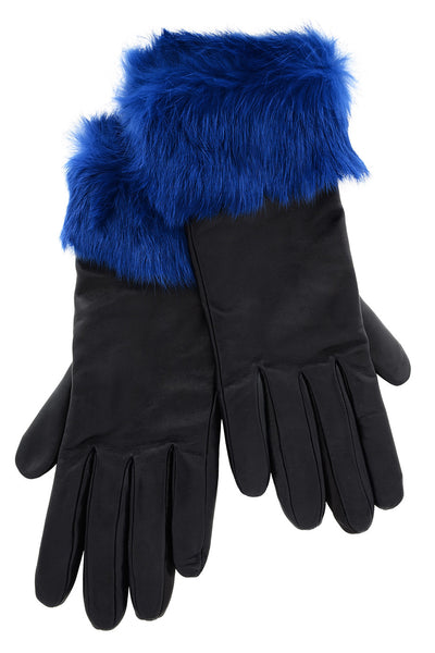 DEMI INGEBORG Blue Black Leather Fur Women Gloves