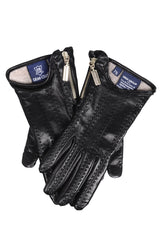 DEMI ELINDA Black Leather Zip Women Gloves