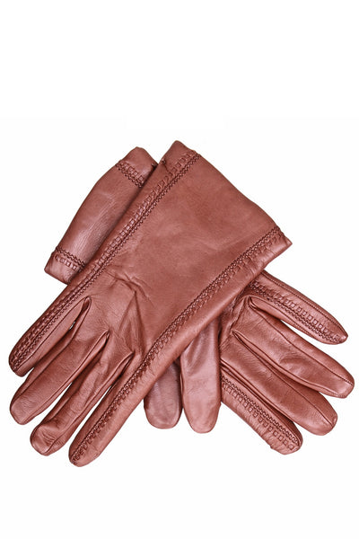 DEMI GERDA Brown Leather Seams Women Gloves