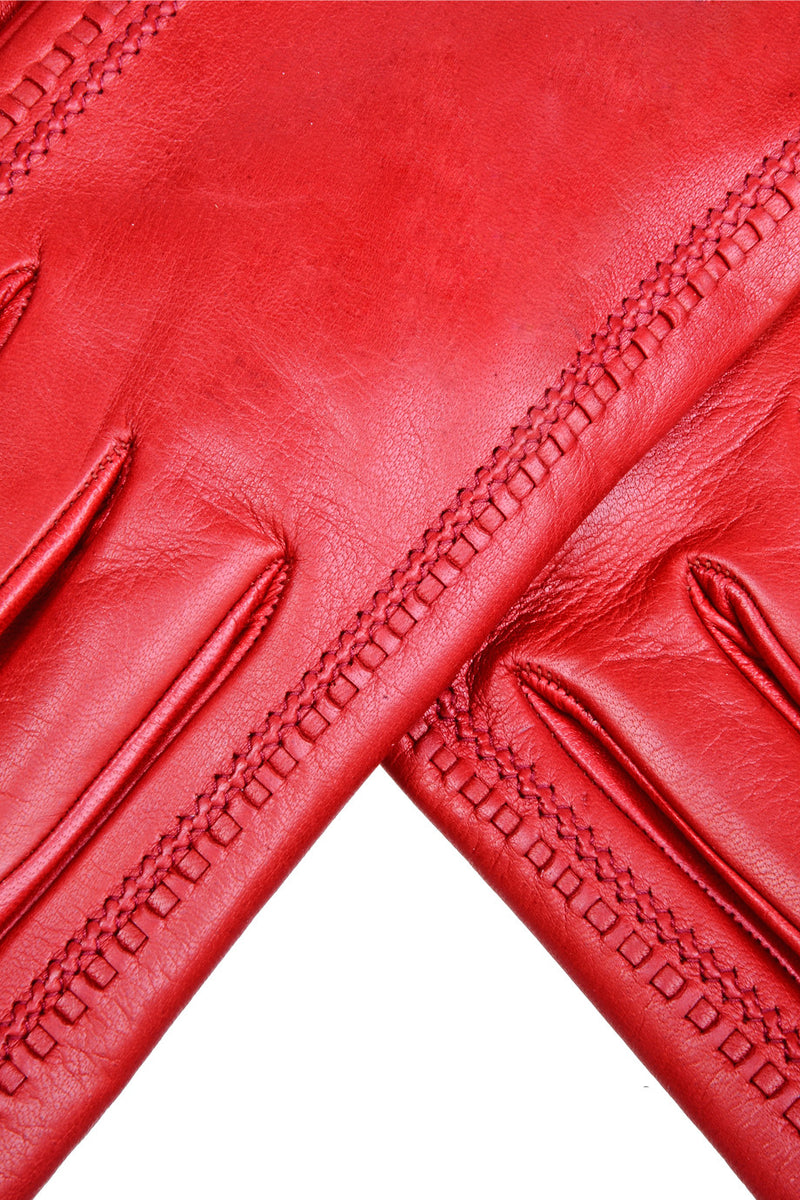DEMI GERDA Red Leather Seams Women Gloves