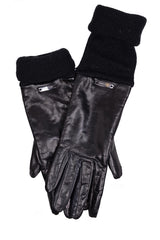 DEMI HEDDA Extra Long Black Leather Women Gloves