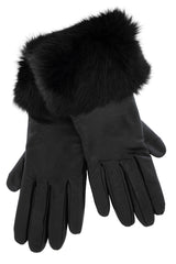DEMI INGEBORG Black Leather Fur Women Gloves
