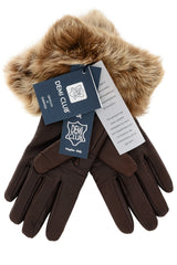 DEMI INGEBORG Brown Leather Fur Women Gloves