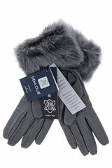 DEMI INGEBORG Grey Leather Fur Women Gloves