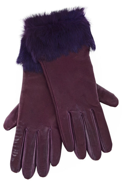 DEMI INGEBORG Purple Leather Fur Women Gloves