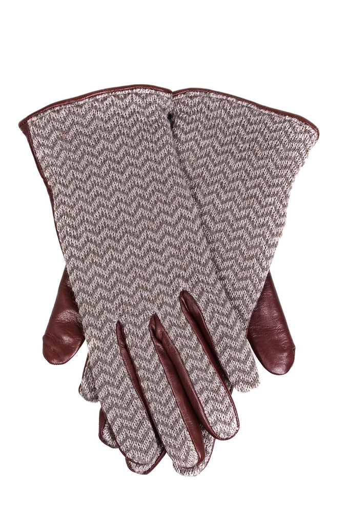 DEMI JANNIKE Brown Wool Women Leather Gloves