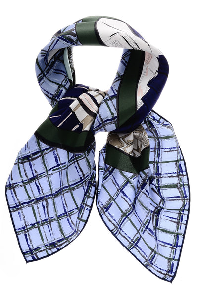 COMIC Blue Silk Printed Woman Scarf