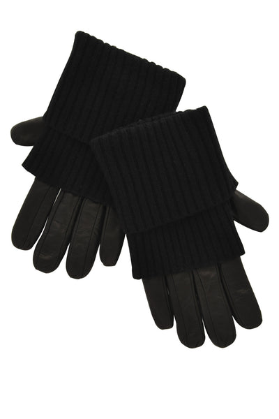 Dolce & Gabbana FERNANDA Long Black Leather Women Gloves