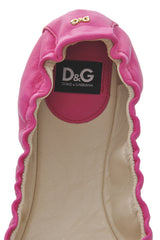 Dolce & Gabbana WOOPY Pink Leather Ballerina Flats
