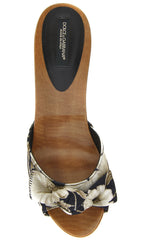 Dolce & Gabbana JULIANA Navy Floral Clog Sandals